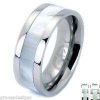 Titanium Carbide Bridal Wedding Engagement Band With Mother of Pearl Inlay Ring