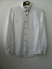 White Mens Topman Long Sleeved Smart Shirt With Blue Buttons Size Small