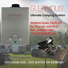 Instant LPG Portable Gas Hot Water Heater Shower & Sink Outlets + 12.5lpm Pump