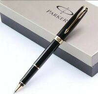 Perfect Parker Sonnet Series Bright Black Gold Clip 0.5mm F Nib Rollerball Pen