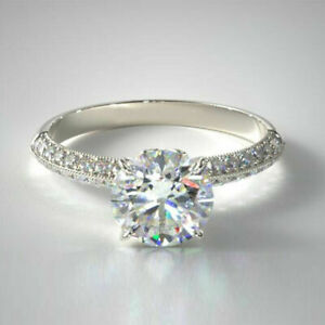 0.95 Carat Round Real Diamond Engagement Rings Solid 14K White Gold Size M N O P
