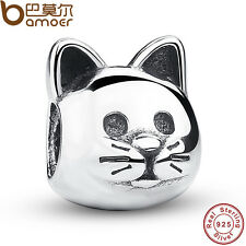 Pretty Authentic S925 Sterling Silver Cat Charms Fit European Bracelets Bangles