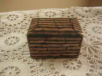 "Miniature Lacquer Hinge Box Nordstrom Brown Black Geometric Design 3"" x 2"" x 2.5"