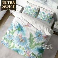 Hummingbird Floral Flowers Blue Quilt Cover Doona Duvet Cover With 2X Shams