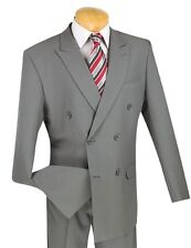 Lucci Men's Gray Double Breasted 6x2 Button Classic Fit Polyester Suit NEW