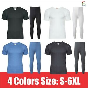 Mens Winter Thermal Long Johns Short Sleeve T-Shirt Underwear Base Layer SKI TOP