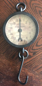 Antique POST OFFICE 20lb Hanging Scale TRINER MFG CHICAGO Vintage Looking