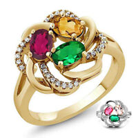 Zircon Gold Rings Size 6-10 925 Women Cubic Silver Jewelry Wedding Multicolor
