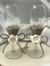 wedding toasting flutes, rustic, country
