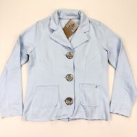 NEW Neon Buddha Women's Yoga Casual Jacket Chunky Buttons Blue • Small