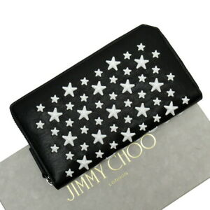Auth JIMMY CHOO Star Studs Zip Around Long Wallet Black/White Leather - h26929b