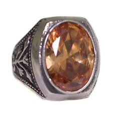Men's Sterling Silver Ring, Orance Citrine Created Stone