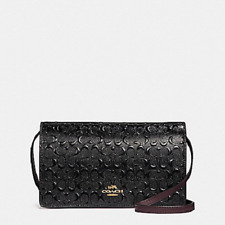 New Coach F15620 Foldover Crossbody Clutch In Signature Debossed Patent Leather