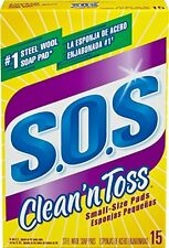 NEW S.O.S. Clean and Toss Steel Wool Soap Pads 15 Count Pack of 6 FREE SHIPPING