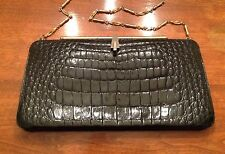 Vintage Black Alligator Handbag Purse