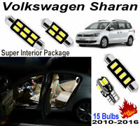 15pcs White LED Interior Light Kit HID Room Lamp For Volkswagen Sharan 2010-2016
