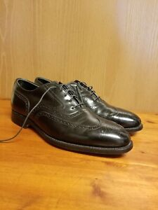JOHNSTON MURPHY CROWN ARISTOCRAFT BLACK LEATHER WINGTIP OXFORD DRESS SHOES 9.5 D
