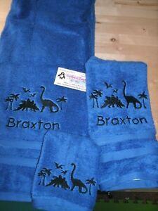 Dinosaur Scene Dino Personalized 3 Piece Bath Towel Set  Any Color Dinosaurs