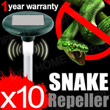 10x Multi Pulse Plus Ultrasonic Solar LED SNAKE REPELLER & Pest Rodent Repellent