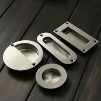 Satin Stainless Steel Door Handle Flush Recessed Pull Circular Oval Rectangular