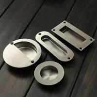 Satin Stainless Steel Door Handle Flush Recessed Pull Circular Oval Rectangular