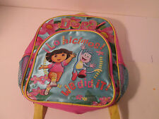 Dora The Explorer Backpack with Boots Nickelodeon Flowers Pink and Blue