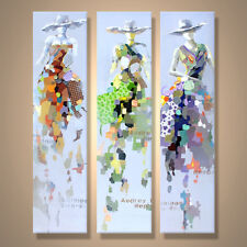 Hand Painted Urban Girl Modern Abstract Knife Oil Painting On Canvas 60x160cm X3