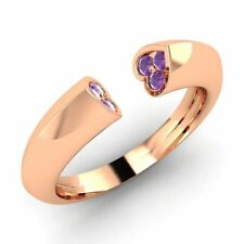 0.11Cts Natural Amethyst Heart Wedding Band Ring in 10k Rose Gold Womens Jewelry