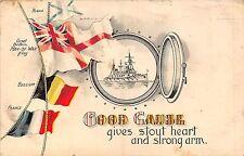 POSTCARD  MILITARY    PATRIOTIC  Man-of-War  Flags   Good  Cause