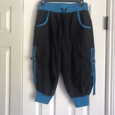 Zumba wear fitness pants active wear size small black with blue knit cuffs
