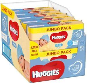 Huggies Pure Baby Wipes - Pack of 10 (10 x 72 Packs, Total 720 Wipes)