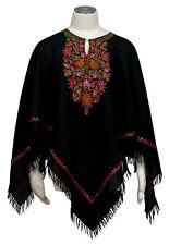 Poncho Kashmir hand bestickt hand embroidered 100% Wolle wool Schwarz Black