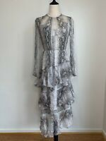 ZIMMERMANN • Size 1 (8-10AU) • BNWT Gorgeous Snakeskin Silk Tiered Maxi Dress