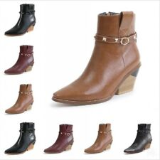 Chunky Heel Women Ankle Boots Buckle Pointy Toe Ladies Cowboy Chelsea Rock Boots