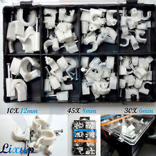 Round White Cable Clips Mix Size with Fixing Nails 12mm 8mm 6mm with Box