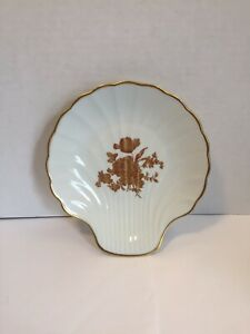 Limoges France Porcelain & Goldtone Trim & Gold Tone Flowers Shell Trinket Dish