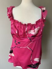 Elie Tahari Silk Sleeveless Blouse Floral Print Hot Pink Square Neck Size L
