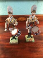 """Dresden Figurine Pair of Drummer of 3rd Guards Porcelain 11 1/2"""""""