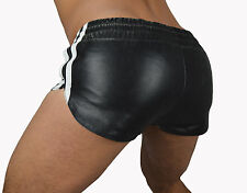 NUOVO SPORT in PELLE Pantaloncini con motivo a righe in Pelle, Hotpants ledershorts
