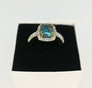 18k Gold Plated Persian Turquoise Sterling Silver Ring 4.50k - Size P-Q