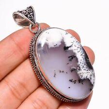 "Dendrite Opal Gemstone Handmade Tribal Style Silver Jewelry Pendant 2.4"""