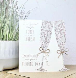 Handmade Personalised Wedding Card - Son Daughter Friends Granddaughter Grandson