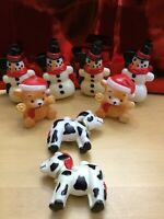 Vintage Blow Mold Christmas String Light Covers lot Of (8 )Cows,bears,snowmen