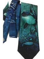Northern Wilderness mens necktie whale ocean moon blue polyester