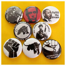 "BLACK PANTHERS Set 2 1"" buttons badge Huey P Newton MLK Bobby Seale"