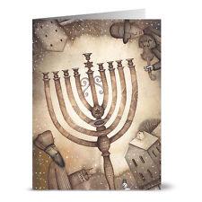 24 Holiday Note Cards - Hanukkah Menorah - Off White Ivory Envs