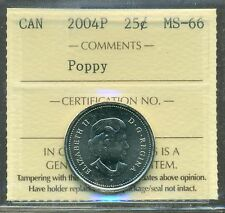 2004P Canada Poppy 25 cent ICCS MS 66