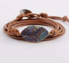 Brown Leather Friendship Bracelet Druzy Quartz Stone Wrap Bangle Wristband Rope