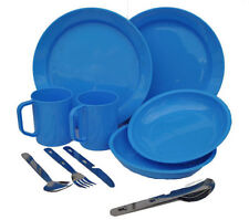 2 Person Camping Picnic Dining Set Plate Mug Bowl and Cutlery Blue Plastic
