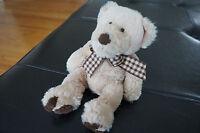 PLUSH Toy TEDDY BEAR First Main Tan Brown Plaid Bow Newton 1804 Stuffed Animal